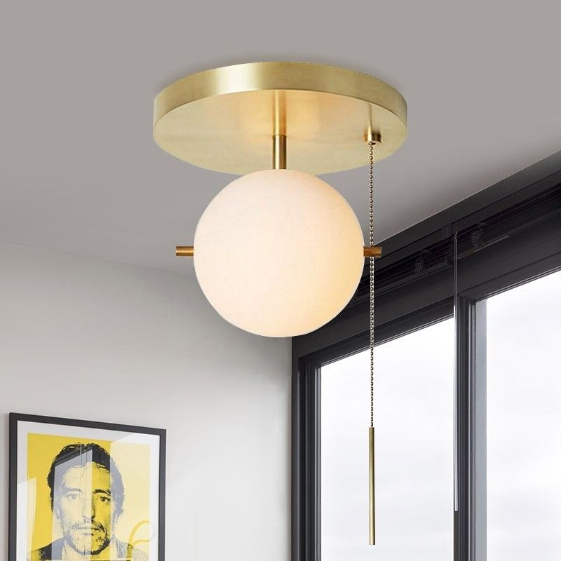 Gidu Mid Century Pull Chain Ceiling Light Globe Glass Shade Semi Flush Mount Metal In Gold In 2020 Ceiling Lights Flush Mount Ceiling Lights Ceiling Fixtures