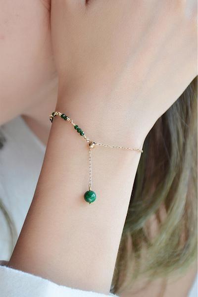 Womens Jade Beaded Bracelets 14K Gold Charm Bracelets for Women