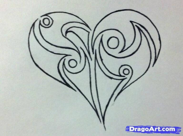 How To Draw A Tribal Heart By Malka With Images Heart Drawing