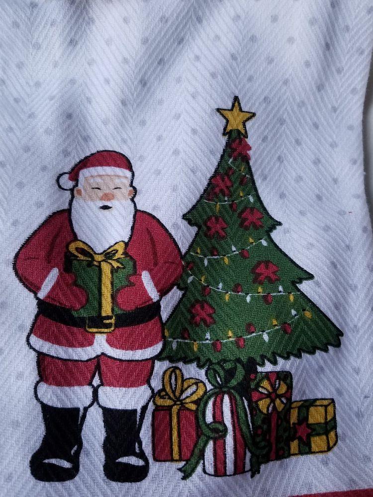 3f0def1757a Envogue Holiday Santa Claus Tree Presents Dish Towels Kitchen Set of 2  Christmas  Envogue
