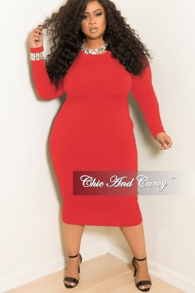 New Plus Size Long Sleeve Knee Length Bodycon Dress In Red Bodycon