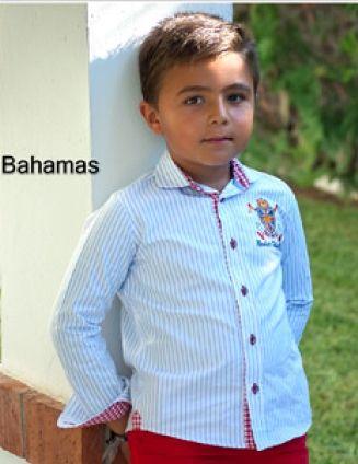 2dc499ae5 Camisa para niño de mangas largas en entrelistado celeste y blanco con  detalles en puños, cuellos y tirilla de botones en vichy rojo.