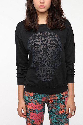 Truly Madly Deeply Burnout Skull Sweatshirt - Black - L