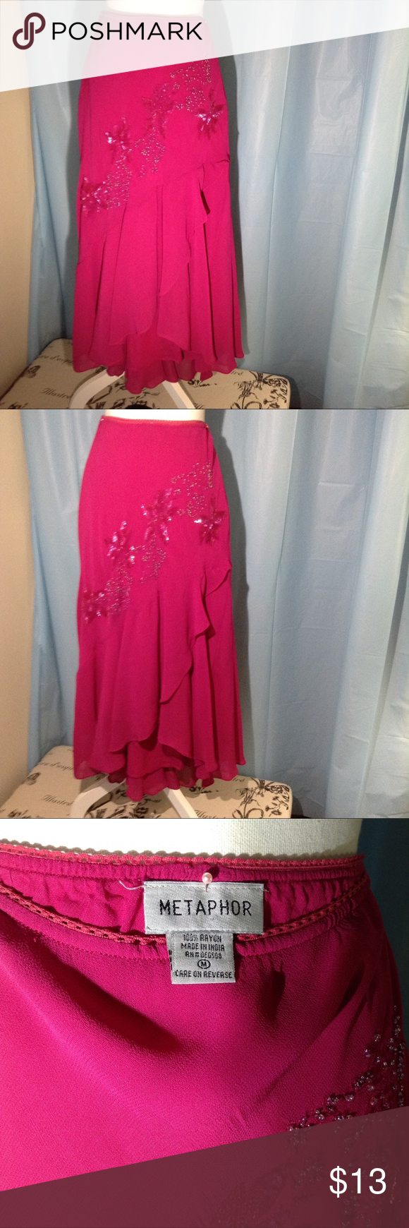 Vintage Hot Pink Beaded High Low Maxi Skirt M My Posh Closet Asymmetric Hem Maroon Beautiful Floral Motif On The Front Of This It Is 100 Rayon Lightweight Chiffon Over Matching
