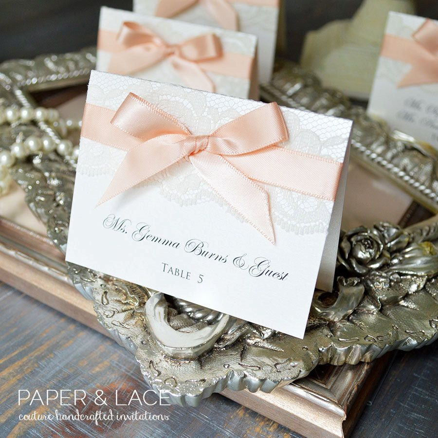 PLACE CARDS rustic and lace | Wedding places, Place card and Pink white
