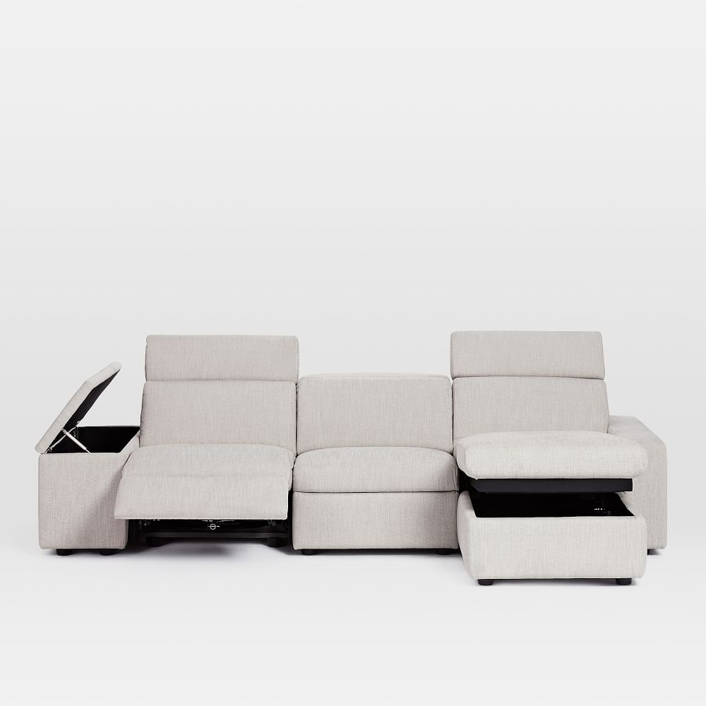 Phenomenal Enzo Reclining 3 Seater Sectional With Storage Chaise For Machost Co Dining Chair Design Ideas Machostcouk