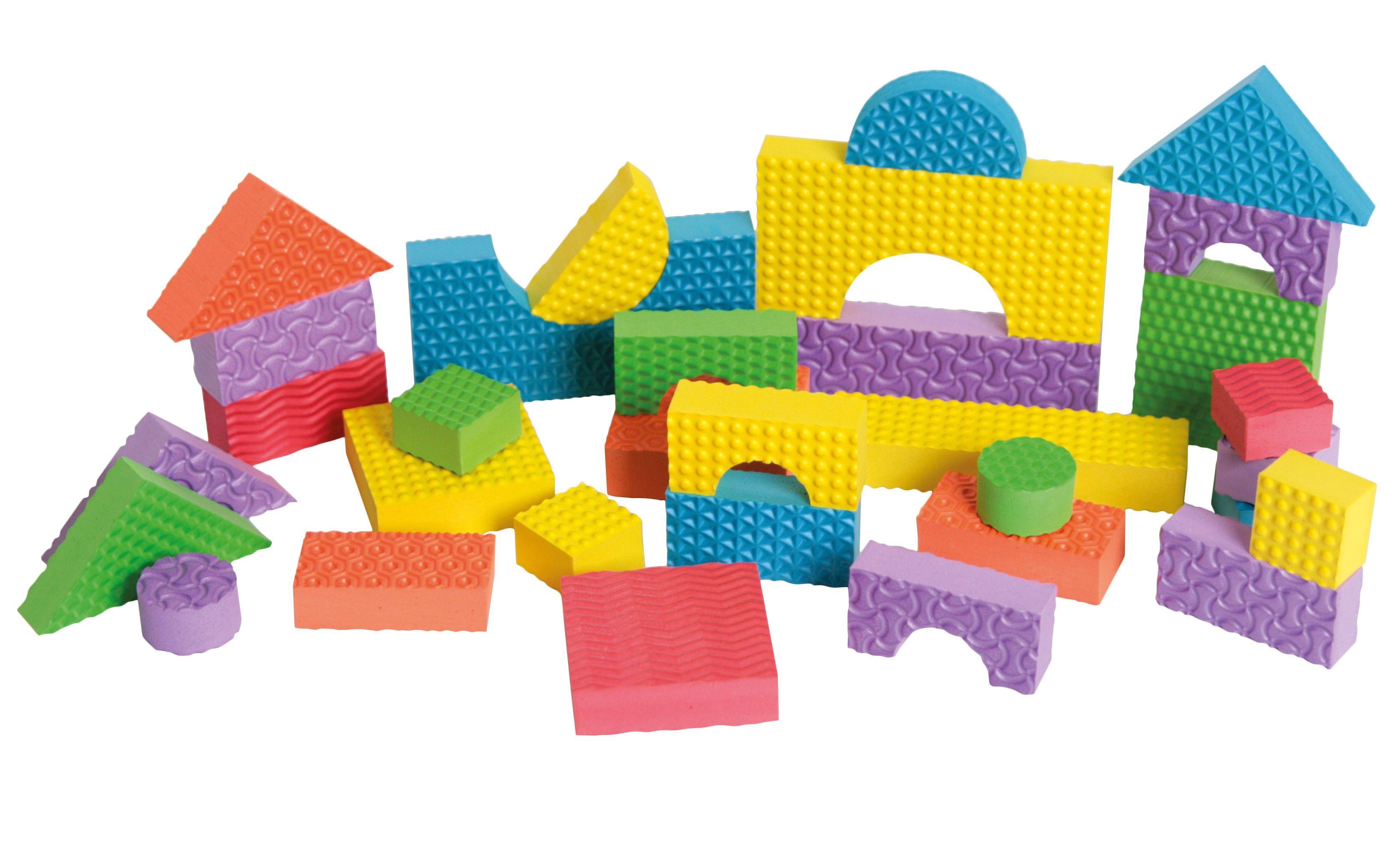 Ce jeu de construction contient des blocs texturés en mousse très léger à manipuler. Ce jeu est ...