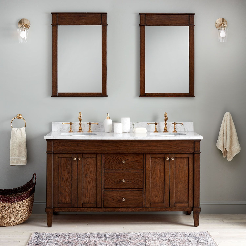 60 Trossman Double Vanity For Undermount Sinks In Antique Coffee In Absolute Black 8 Wo Double Sink Bathroom Vanity Double Sink Vanity Double Sink Bathroom