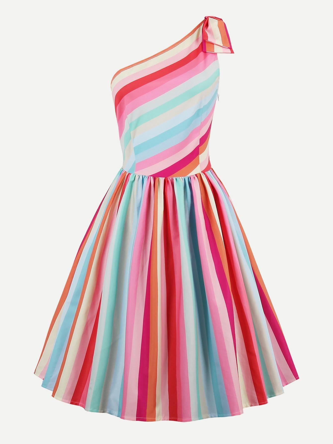 a8036dc6fa763 SheIn - SheIn Rainbow Stripe Oblique Shoulder Circle Dress - AdoreWe.com
