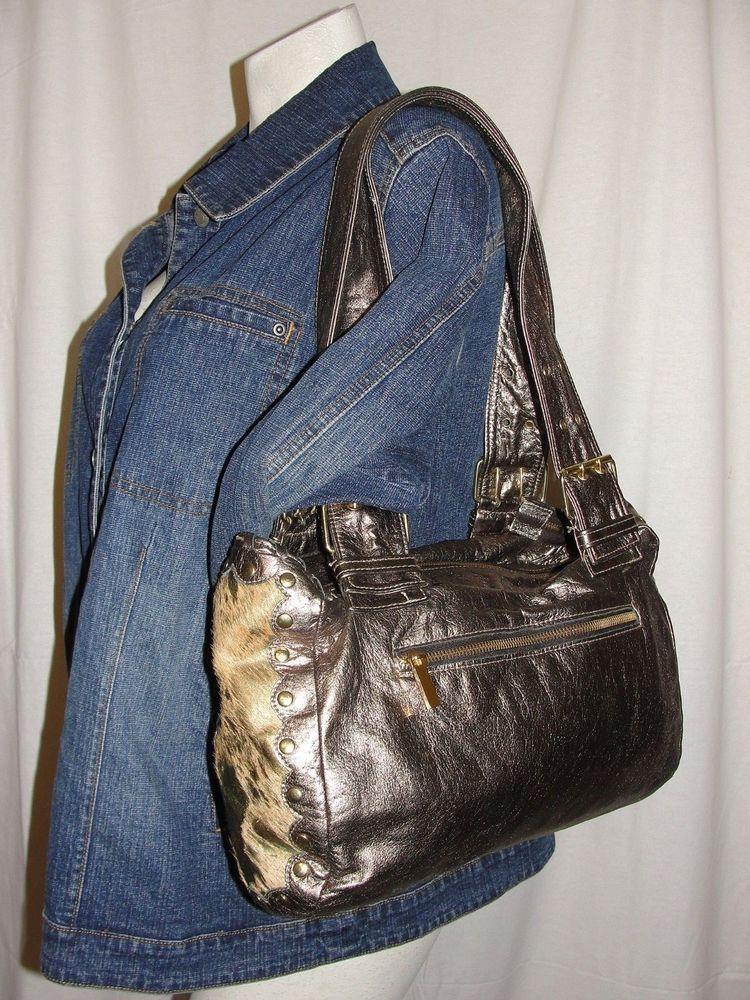 9cf2efe096d6 TREESJE Purse Bronze Studded Distressed Leather Pony Hair Sides Shoulder Bag   Treesje  ShoulderBag