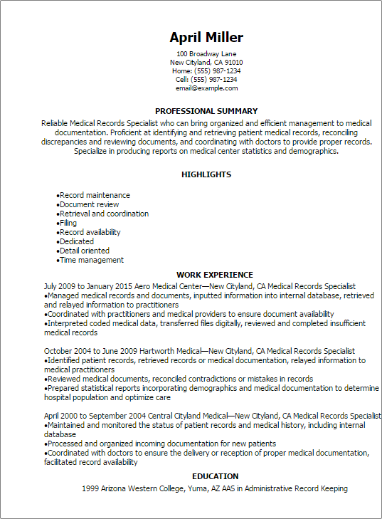 Medical Records Specialist Resume Resume Templates Medical Resumes Myperfectresume Medical Resume Medical Coder Resume Medical Resume Template