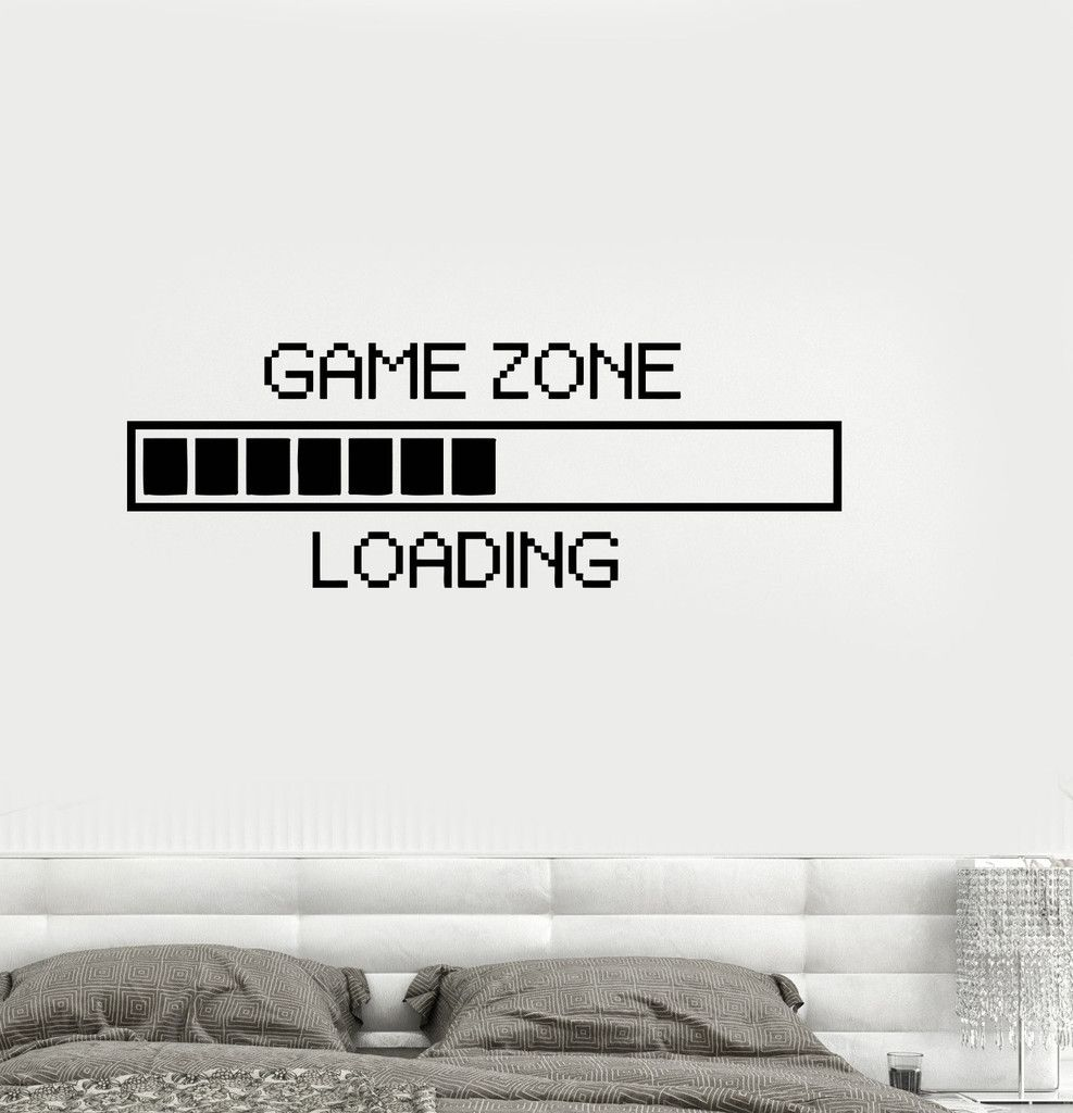 vinyl decal game zone computer gaming decor loading video game