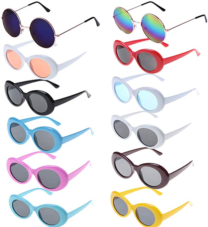 Amazon Com Xgood 10 Packs Oval Goggles Retro Thick Frame Sunglasses Clout Goggles 2 Pieces Hippie Sunglasses Cu Hippie Sunglasses Sunglass Frames Sunglasses