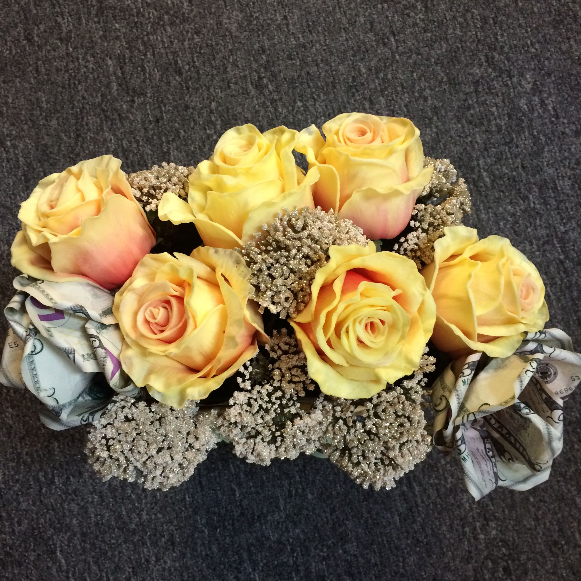 Here Is A Close Up View Of The Bag Of True Touch Yellow Roses