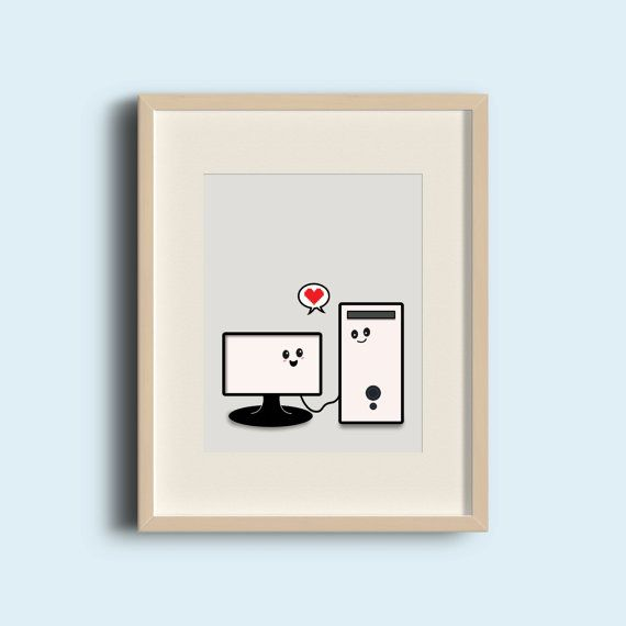 Cute computer love art print. 8x10 inch instant downloadable graphic