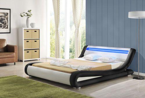 Details About New Designer Bed Modern Curved Led Light Headboard