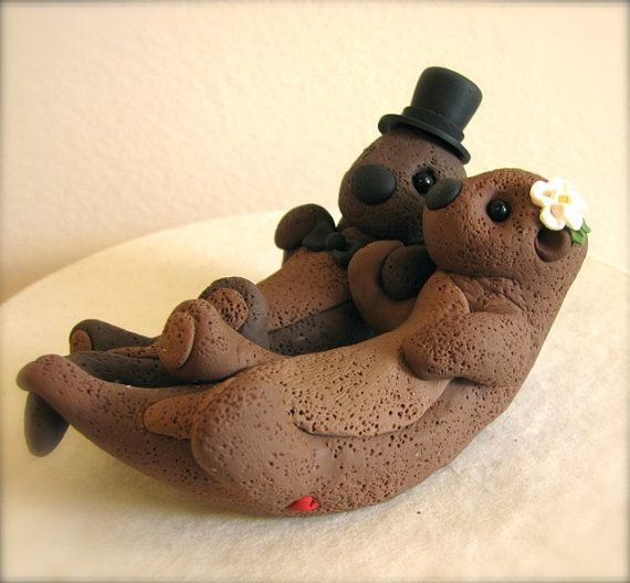 deposit for custom otters cake topper wedding toppers pinterest. Black Bedroom Furniture Sets. Home Design Ideas