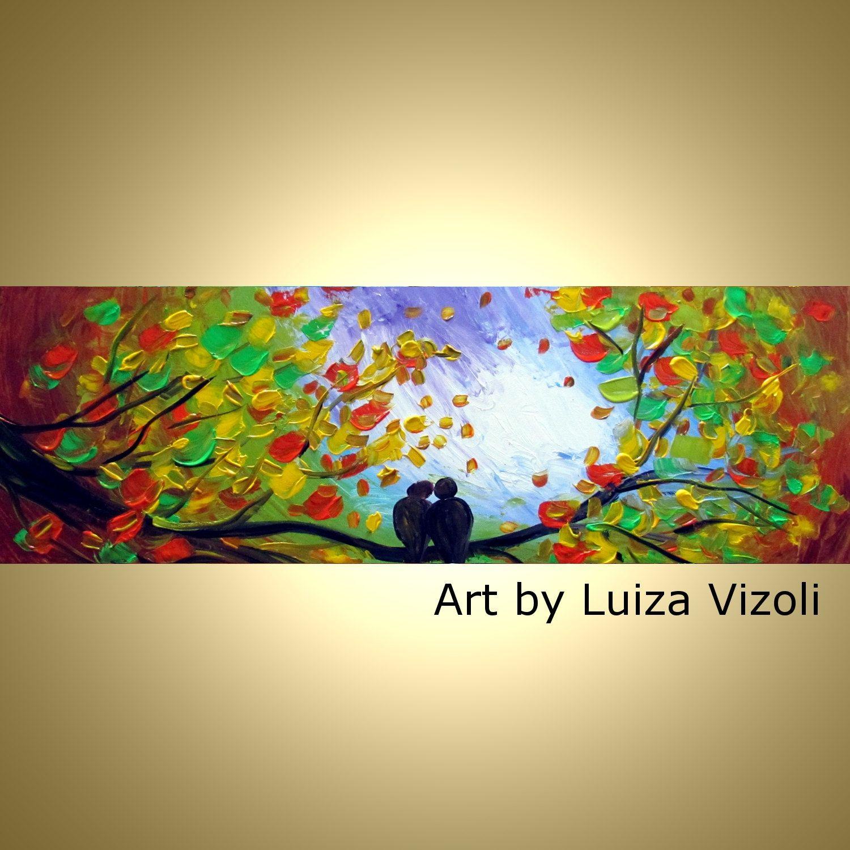 Original Oil Painting Whimsical Birds Landscape Tree Fall Autumn ...