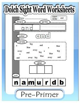 Dolch Pre-primer: Sight word worksheets   Pre primer sight words ...