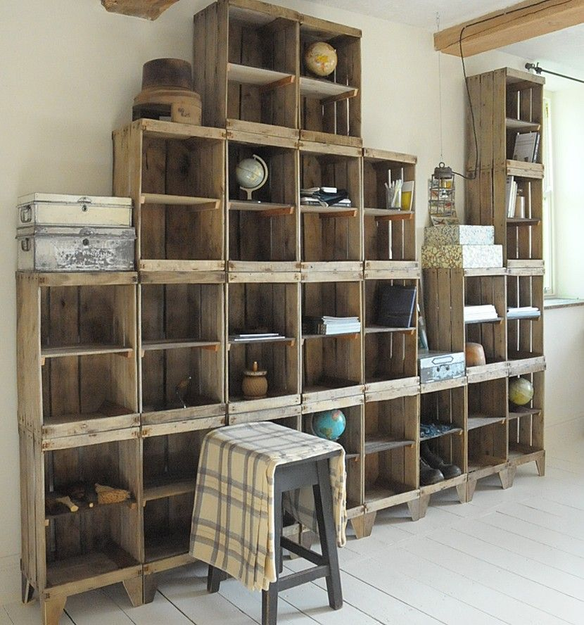 Wall Of Storage Cool Build A Shelving Unit With A Wall Of Old Crates  Diy Home Decor Design Ideas