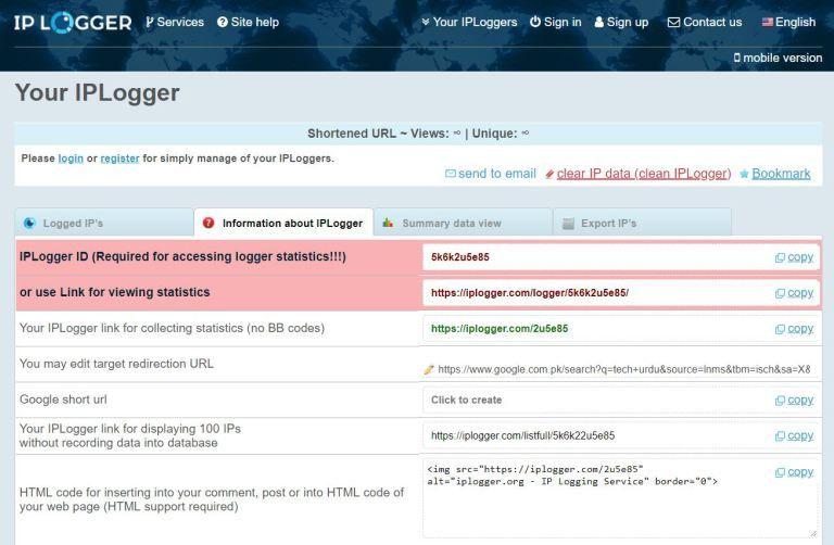 Trace Mobile Location Using IP Address IPlogger website link