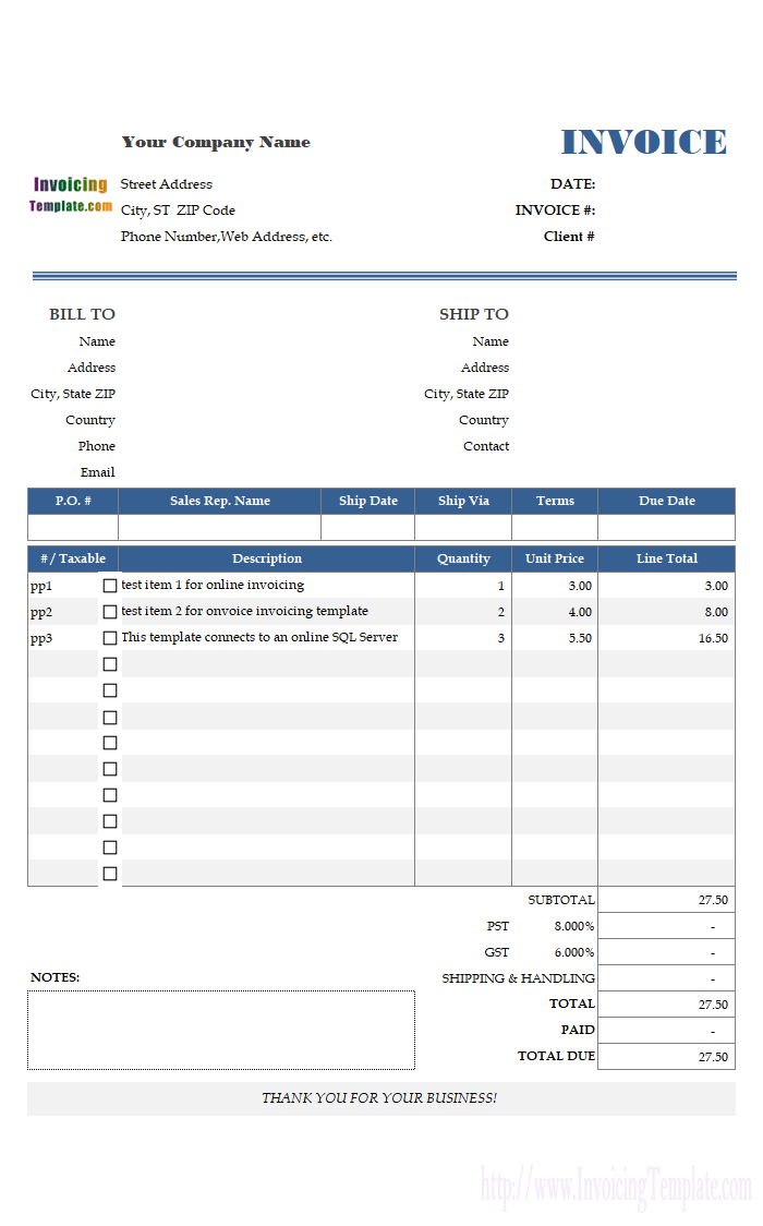 Sample Invoice Template For Online Invoicing Anatomy Pinterest - Online invoice template