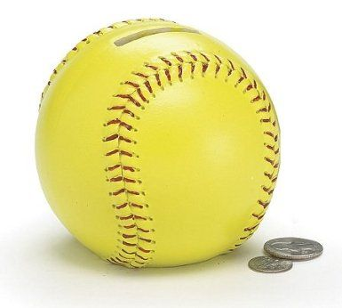 Amazon Com Yellow Ceramic Softball Piggy Bank Great Gift Idea Toys Games Yellow Ceramics Softball Softball Fun