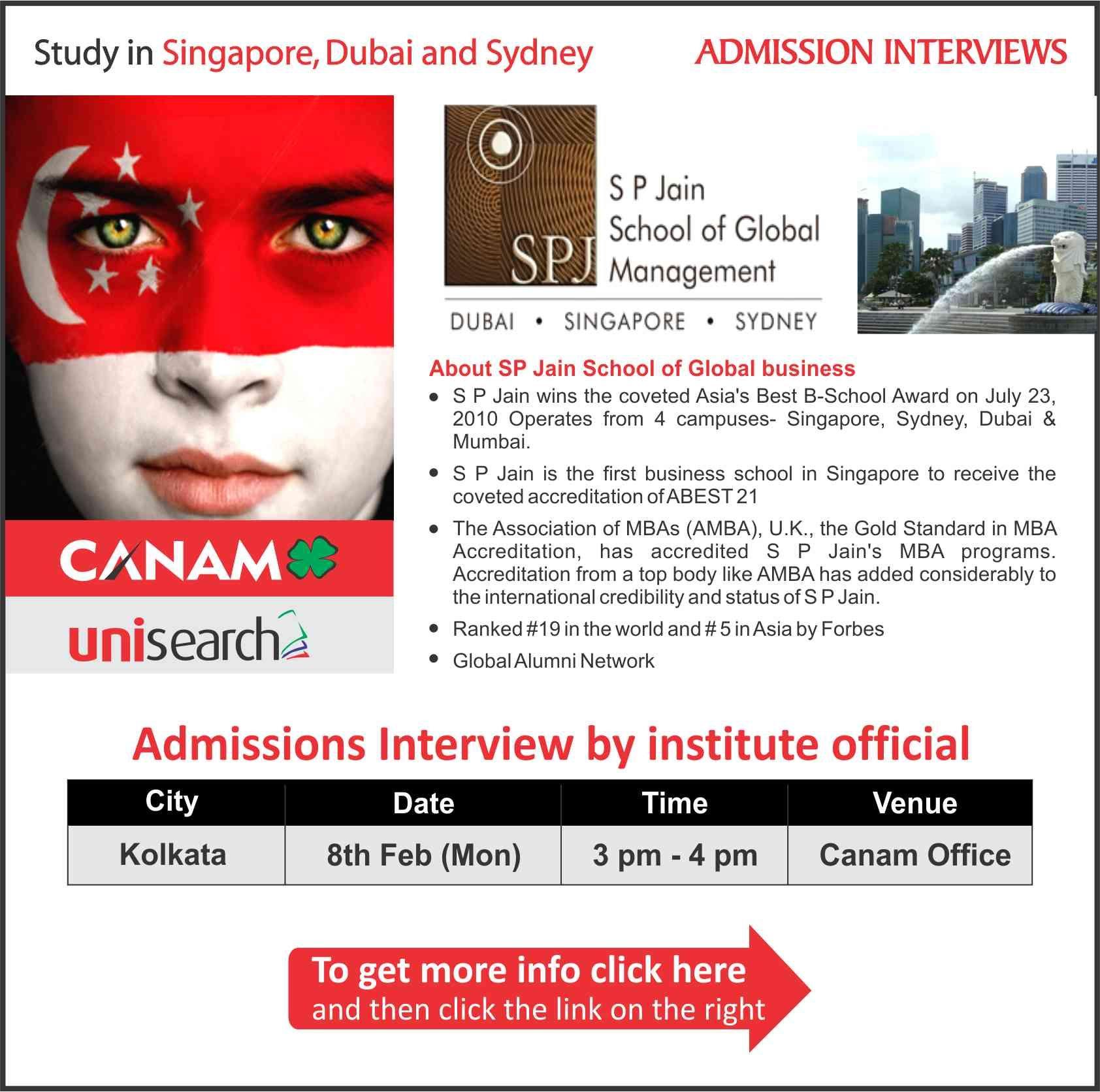 Study in Singapore, Dubai & Sydney S P Jain School of