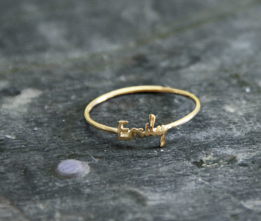Initial name ring Handwriting font - 18K gold plated