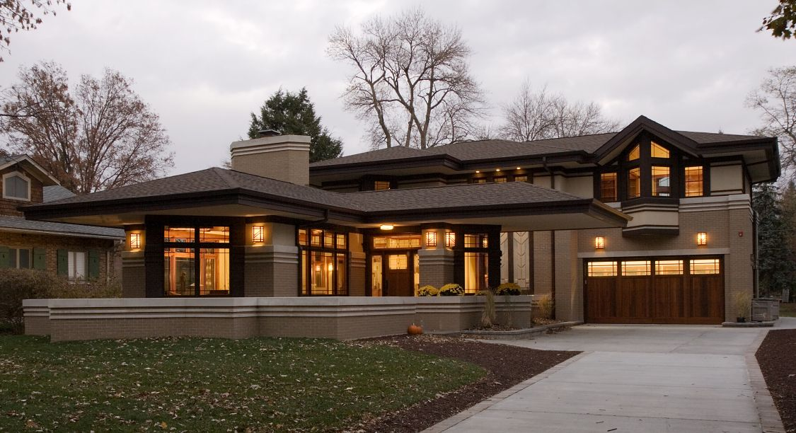 Frank Lloyd Wright Inspired Walk Out Ranch West Chicago Illinois Modern Organic Prairie Home Prairie Style Houses Prairie House Prairie Style Architecture