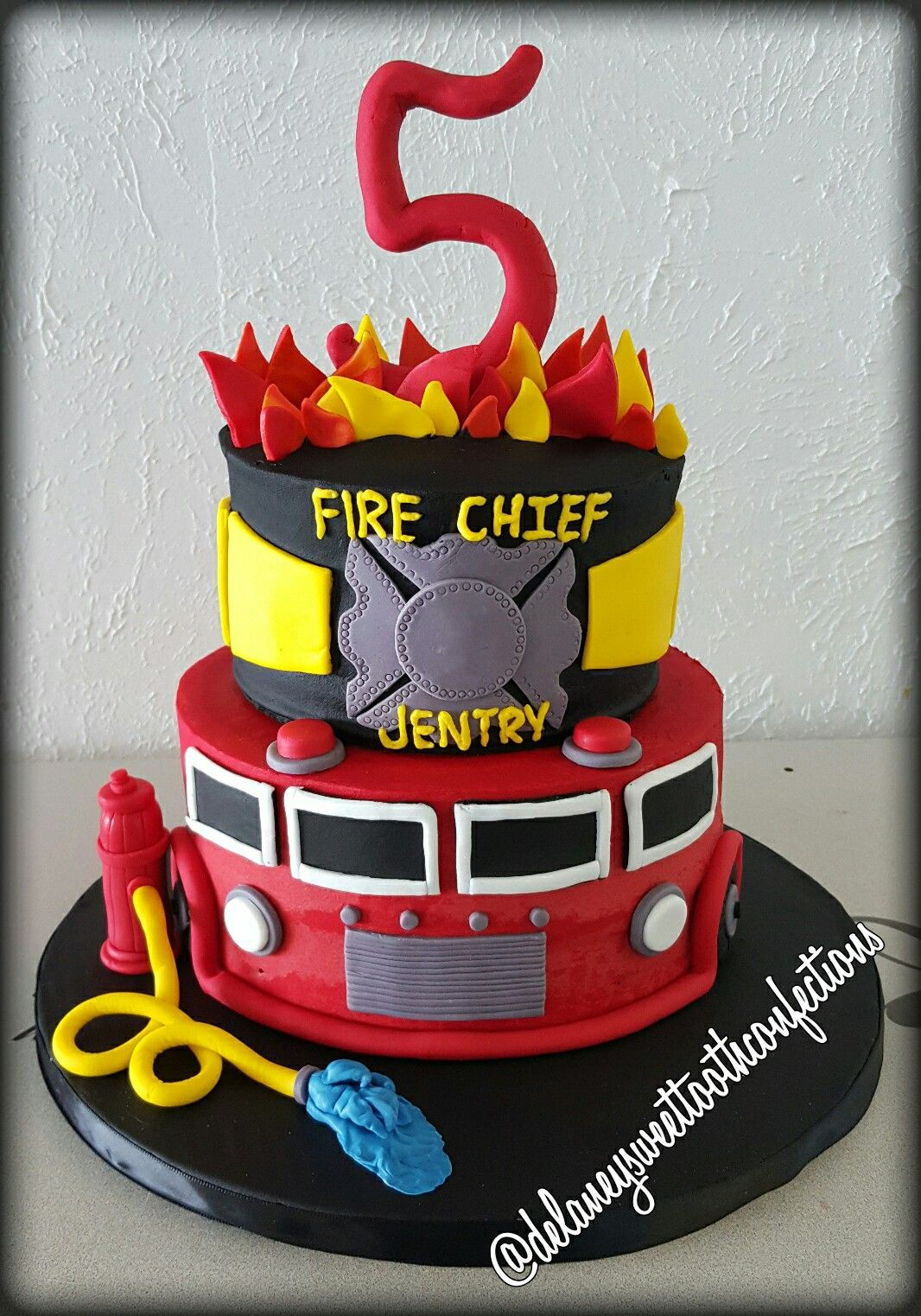 Swell Firetruck Theme Cake With Images Firefighter Birthday Cakes Personalised Birthday Cards Veneteletsinfo