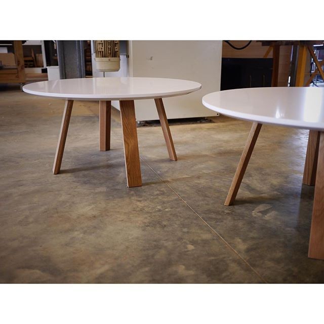 Wonton Coffee Tables In American White Oak With White 2pac