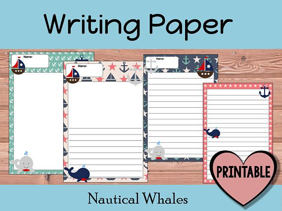 Kids Writing Paper Nautical Whales Standard Lined Printable