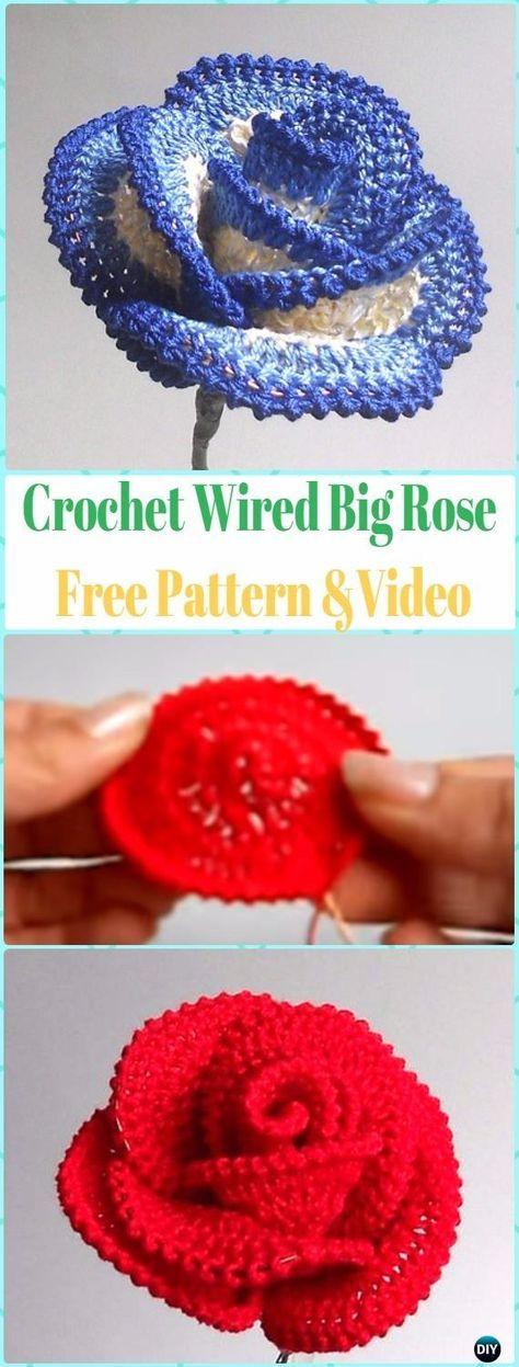 Crochet 3D Rose Flowers [Free Patterns] | Flores de ganchillo ...