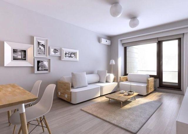 Design D'intérieur Gris Blanc Dans Le Style Minimaliste Moderne