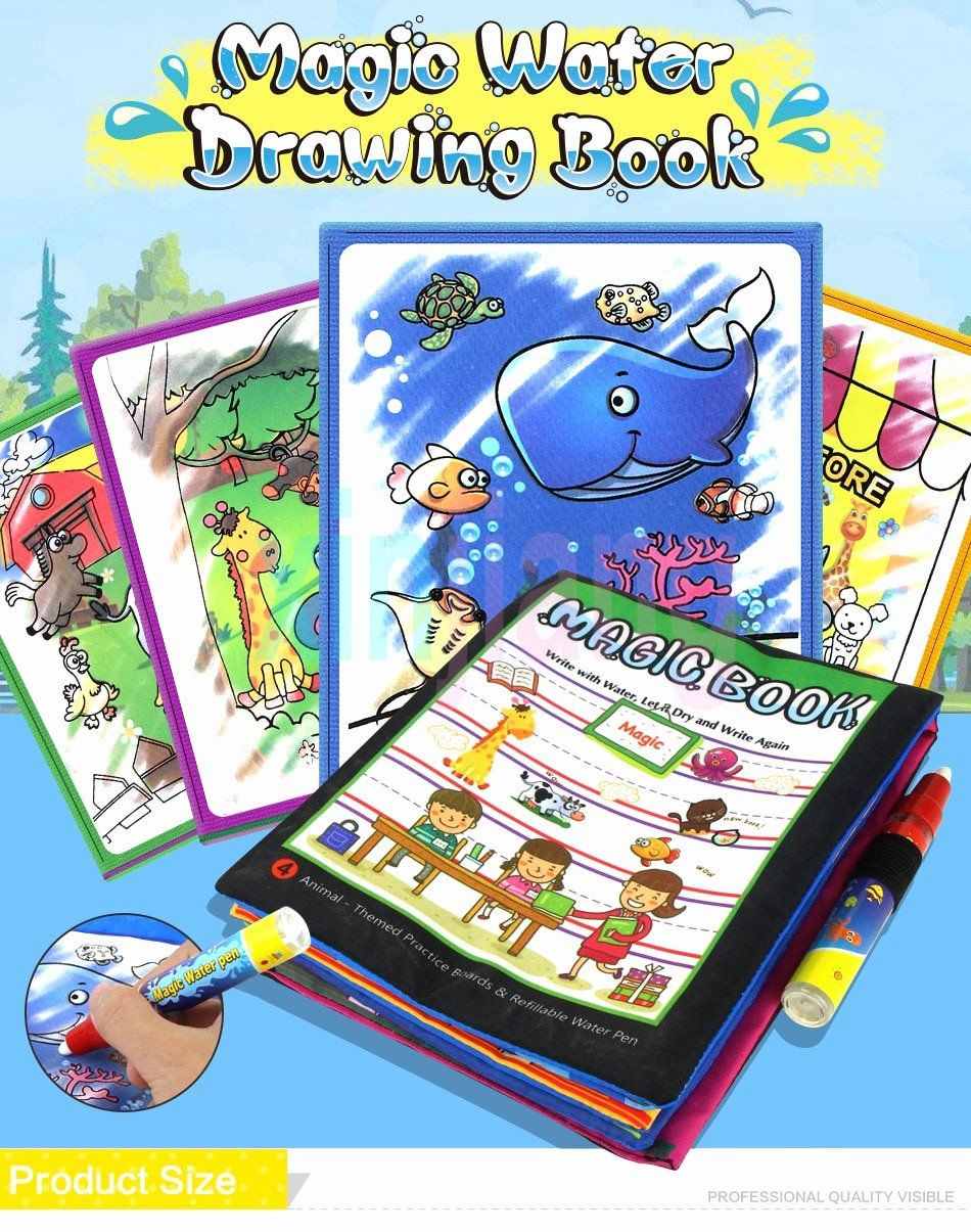 Coloring Book With Water Pen Elegant Water Doodle Mat Soft Cloth Books Magic Pen Water Drawing Boards Bab In 2020 Coloring Books Printable Coloring Pages Color Magic