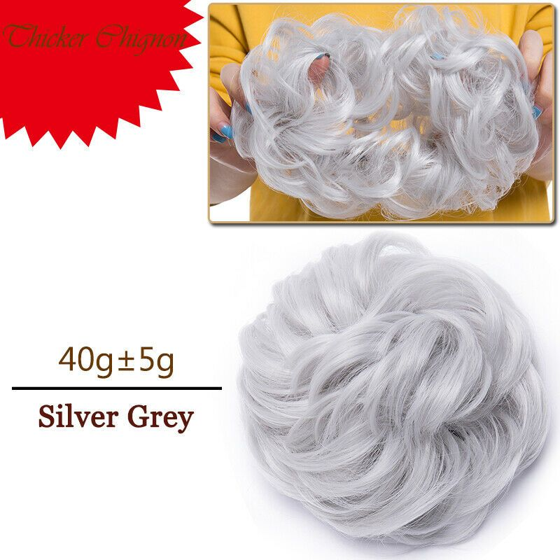 Real Soft Curly Messy Bun Hair Piece Scrunchie 100 Natural Hair Extensions US Gallery
