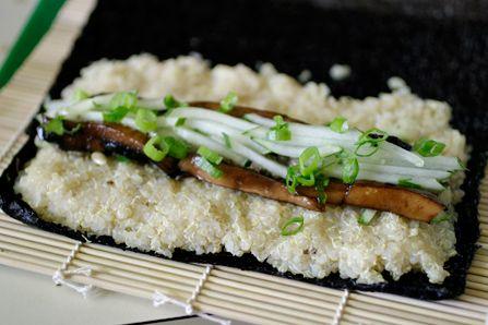 Ruokaideointia: sushia quinoalla ja pähkinäisillä marinoiduilla shiitakesienillä