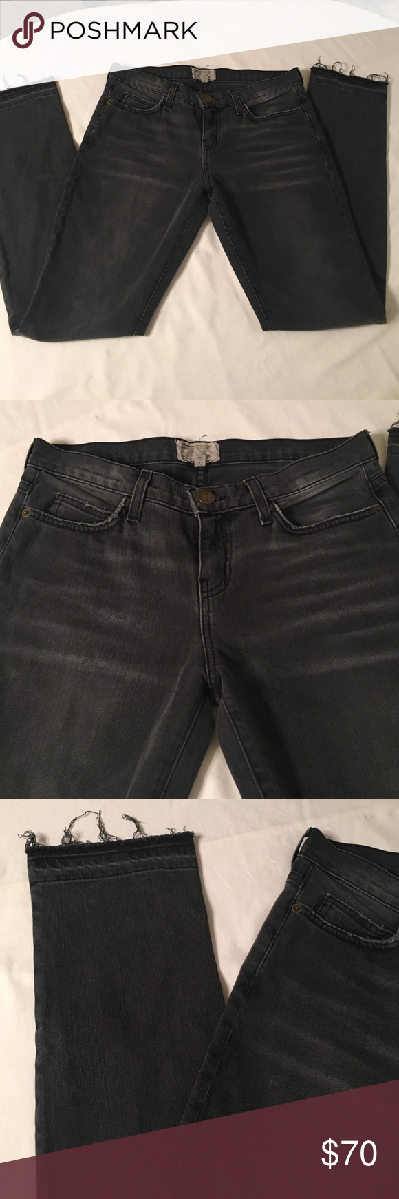 "CURRENT ELLIOTT frayed skinny jeans These frayed and distressed jeans are in great condition! Dark gray color. INSEAM: 32"" Current/Elliott Jeans Straight Leg"