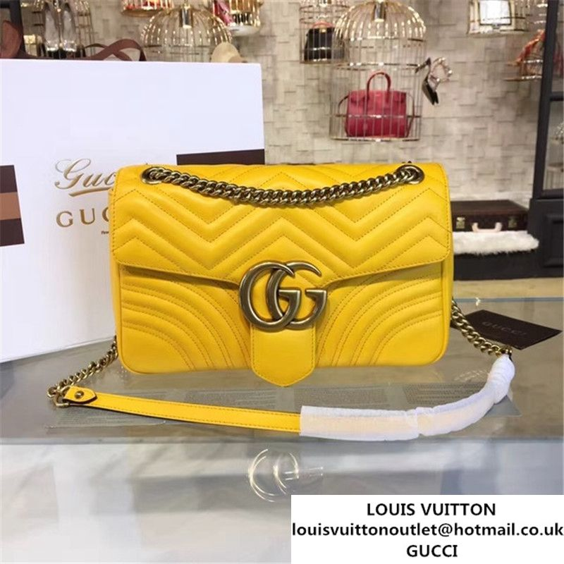 0c07756f28c710 Gucci Marmont Matelass Large Shoulder Bag Original Leather Fall Winter 2016  Collection Yellow