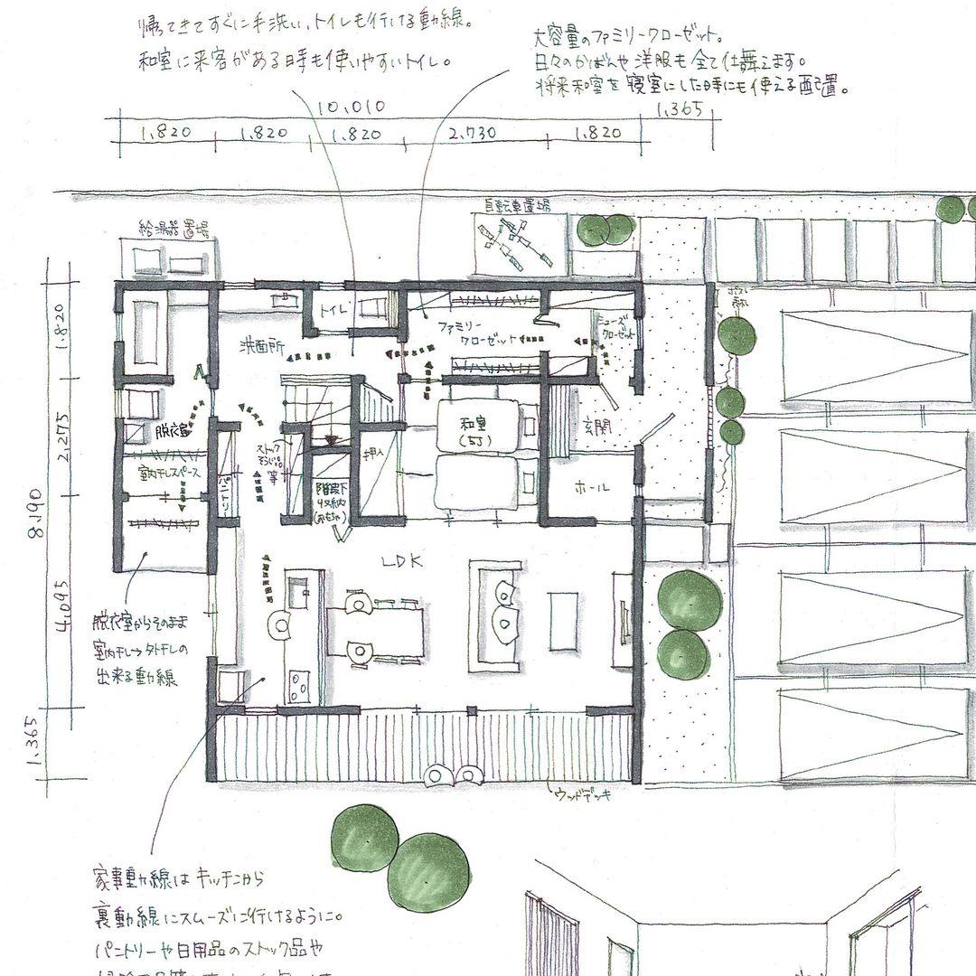 Mio Design Officeさんはinstagramを利用しています 間取り相談依頼より 今回は土地はお持ちですが まだどこにもご相談に行かれていない方で 1から考えさせていただいた間取りです ご要望 一階で家事が完結 する間取り 特に洗濯動線 一