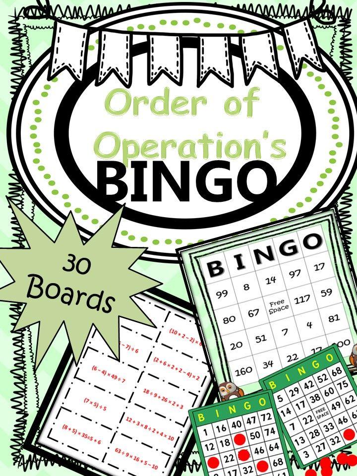 Bingo order of operations 30 boards no prep order