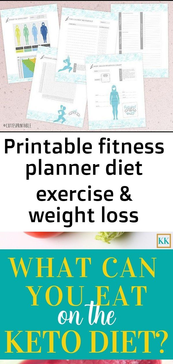 Printable fitness planner diet exercise & weight loss tracker health and fitness goal journal inst