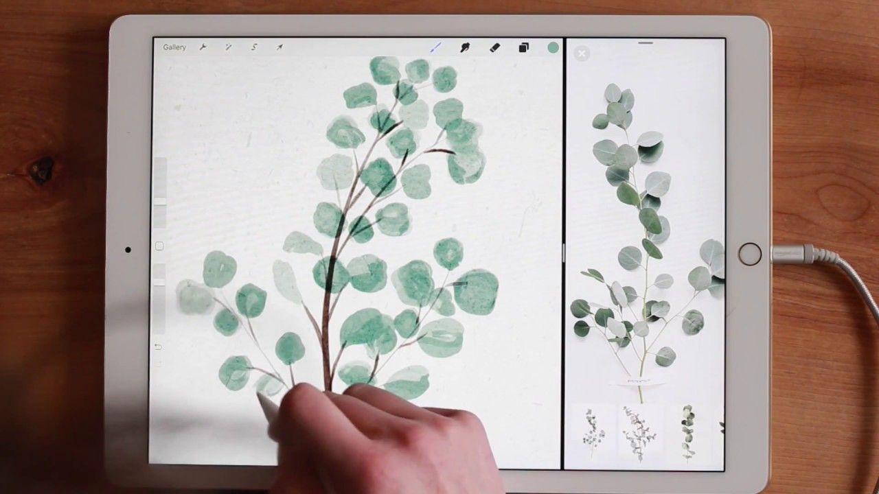 Photo of Paint watercolor eucalyptus wreaths in Procreate on the iPad Pro