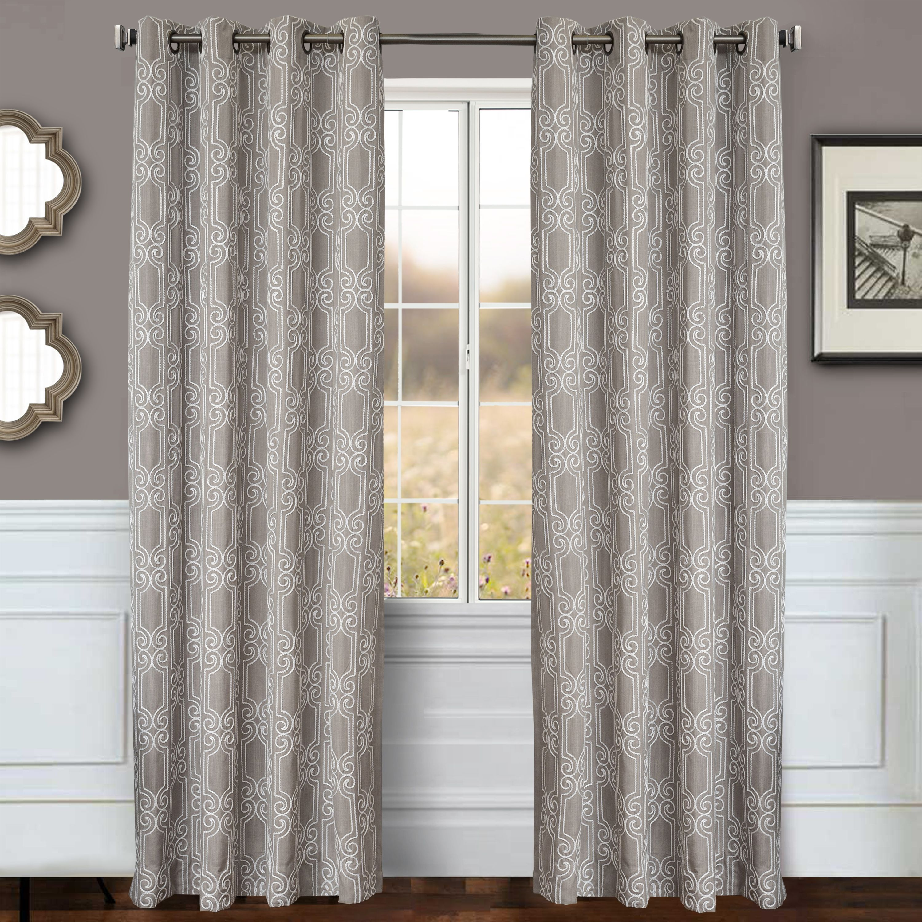 Bexley 96 Embroidered Panel Curtain White Gray Cool Curtains