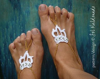 Barefoot Sandals Crochet Pattern Crown - Woman / Teen / Children / Toddler / Baby Crown Sandles - Instant DOWNLOAD