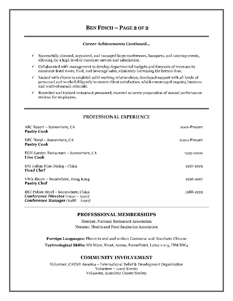 Resume Templates Tamu Fascinating Sample Resume For A Restaurant Job  Httpwwwresumecareer