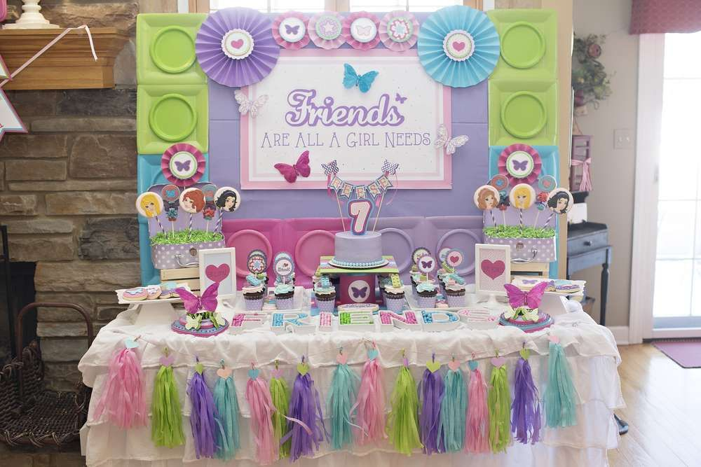 7th birthday party ideas for girl party decorations hearts stars and butterflies lego friends 7th birthday catchmypartycom party ideas lego party ideas pinterest