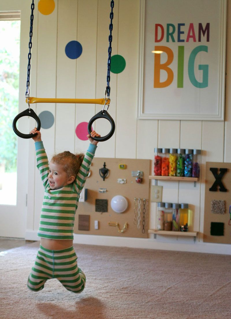 Turn The Kid S Room Into A Little Gym Diy Playroom Kids Playroom Kids Playroom Ideas Diy
