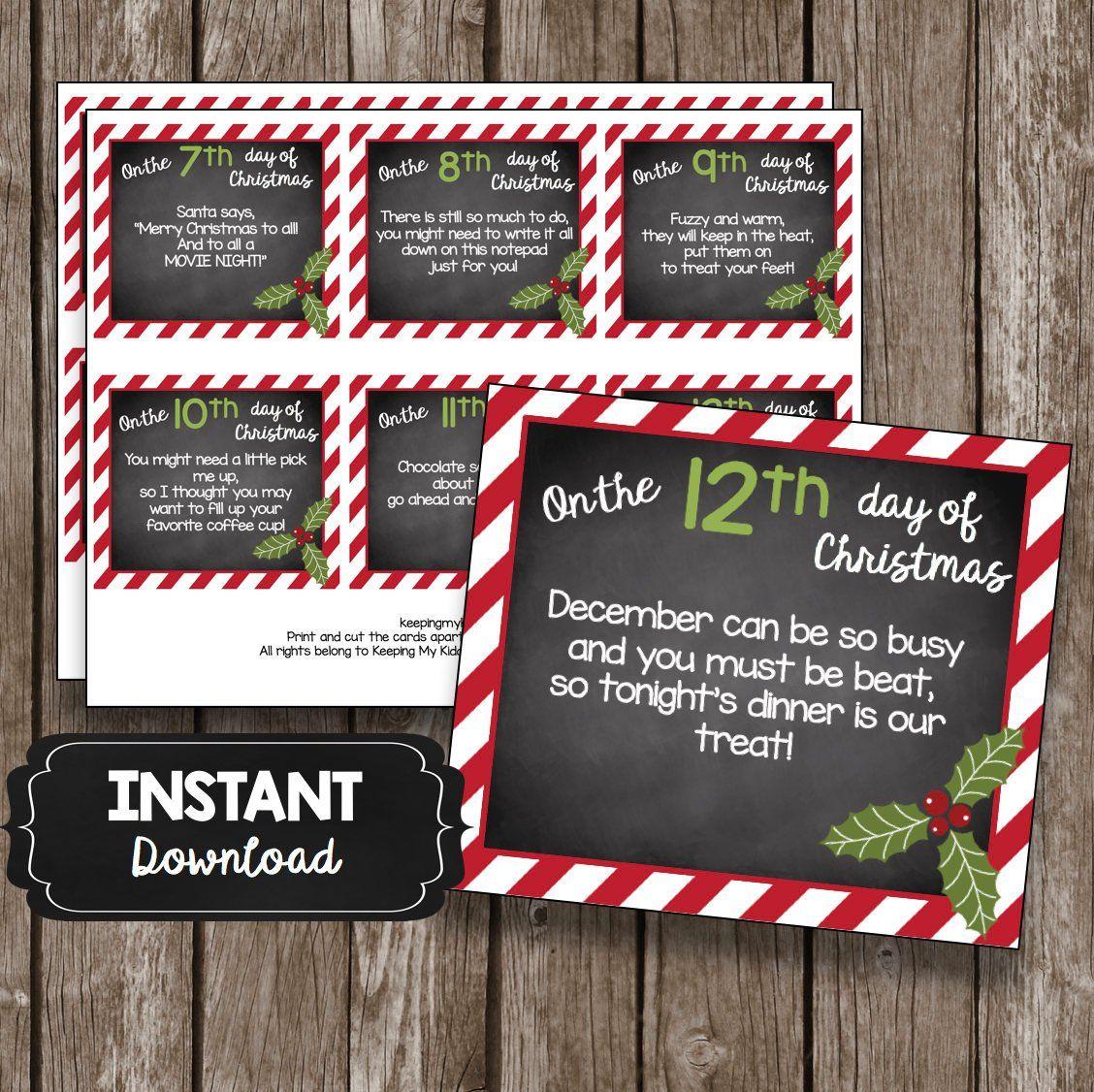 12 Days Of Christmas Teacher Cards